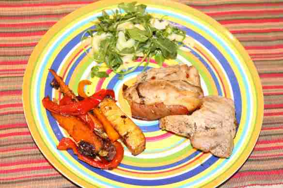 Pork Shoulder, Stir Fried Veggies and UPC Twisted Salad