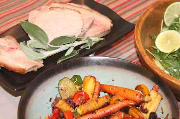 Pork Shoulder with Stir Fried Veggies and Salad