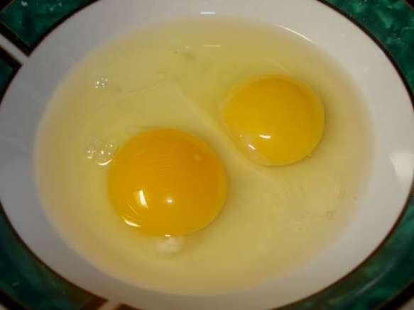2 uncooked eggs in a bowl; one is pastured and bright orange, very healthy looking while the other is organic but not pastured and shows; it's coloring is yellow, smaller, and almost looks like another species of egg.