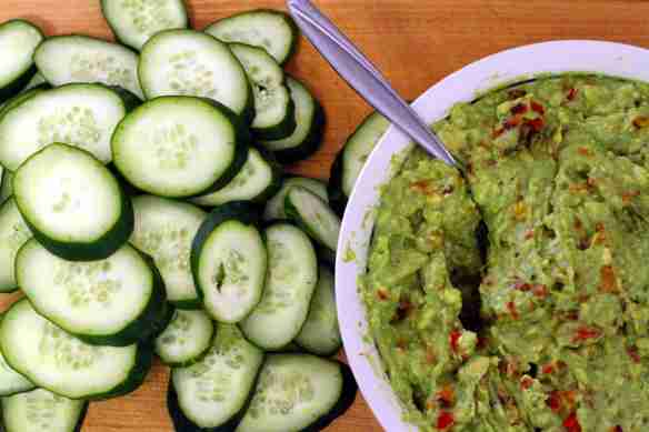 Guacamole and Sliced Cucumbers