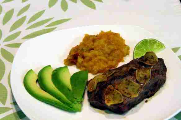 Ginger Lime Beef with Mashed Rutabaga and Avocado